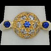 1950's 14K Pave Blue Spinel & White Zircon Ring SZ 7 3/4