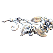 Signed Peruzzi Large Floral Brooch 800 Silver