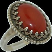 Sterling Silver Hand Wrought Agate Fleur De Les Ring