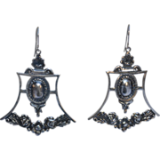 Sterling Silver Victorian Revival Reprousse Earrings