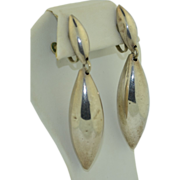 """3"""" Sterling Silver Vintage Mexican Drop Earrings ~ Signed ~GBM"""