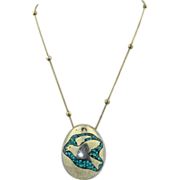 Large 3 Dimensional Sterling Silver Inlay Turquoise Egg ~ Native American Necklace