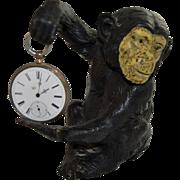 Figural Bronze Monkey Watch Holder