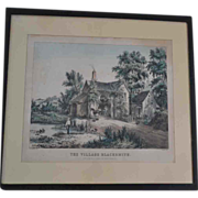 "Currier and Ives Lithograph. N.Currier ""The Village Blacksmith"" 1840's"