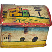 SOLD 19th c. Painted Decorated, Very Small, Dome Top Box