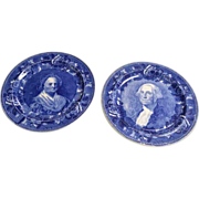 Wedgewood Blue and White American History Plates,George Washington