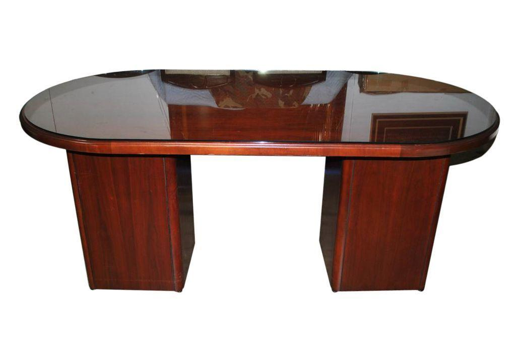 business office mahogany glass top oval pedestal center