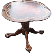 """Antique Mahogany Pedestal Center Table, Scalloped, Paw Feet 33"""" W"""