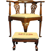 "Antique Petite Corner Chair & Footstool 31""H, Walnut, Needlepoint"