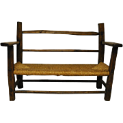 "Excellent Early English Rush Seat Bench 45"" Wide Circa 1850"