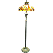 """Gorgeous Tiffany Style Stained Glass, Floor Lamp, Hand Made 65""""H"""