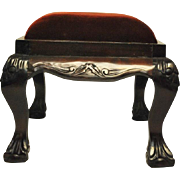 Chippendale Style Hand Carved Mahogany Footstool w Bordeaux Velvet, 2 Available