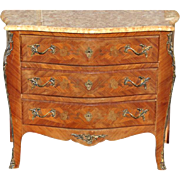 "Antique Louis XV French Style Marble Top Commode, Bombe Chest 31.5""H"