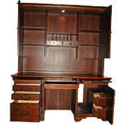 "Large Cherry Computer Desk With Lighted Hutch, Crendenza 81"" H, 63"" W"