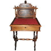 Petite and Rare Antique Victorian Lady's Writing Secretary Desk Ca 1840