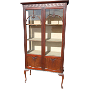 "Antique English Queen Anne Style Display Curio China Cabinet, Mahogany, 70""H"