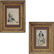 Pair French Watercolors Ancien Regime Nobleman and Post French Revolution Dandy - c. 19th Cent