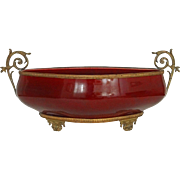Sarreguemines Sang de Boeuf Faience Large Centerpiece Bowl Bronze Mount - 19th Century, France