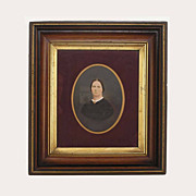 SOLD 18.5 by 16.5 inch Antique Walnut Gilt Frame Photograph Lady Portrait - 19th Century, USA