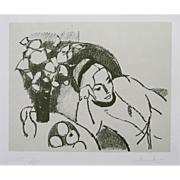 Limited Edition Modern Lithograph 'Reclining Woman' Signed Post Impressionist Italian Artist A