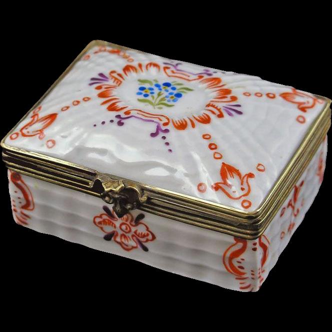 Miniature Porcelain and Bronze Rectangular Trinket Box Sevres Style Double L Mark - c. 20th Century, France