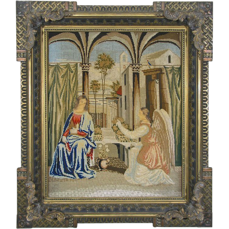 Antique Wool Work Embroidery / Needlework The Annunciation - 19th Century, England