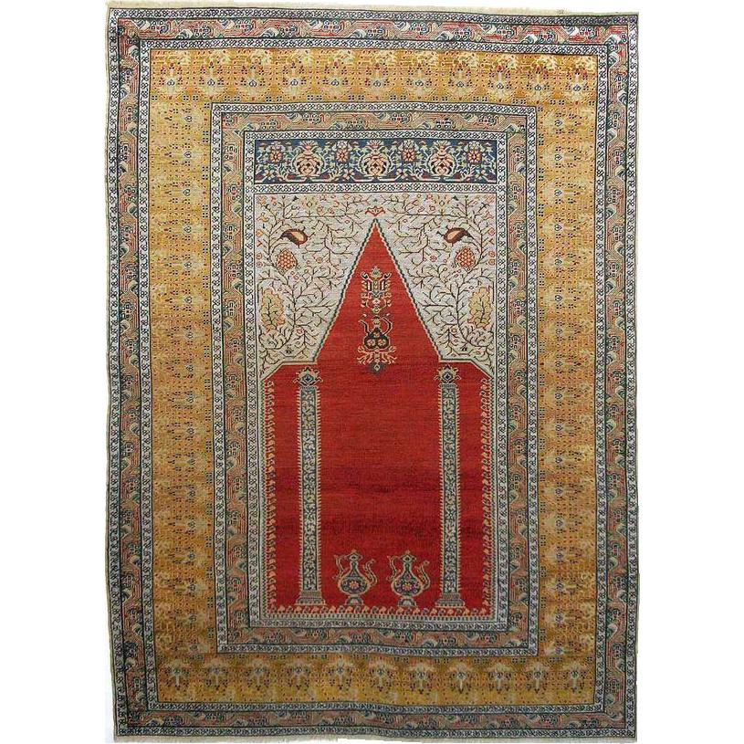 Turkish Ground Rug: Antique Turkish Prayer Rug / Carpet