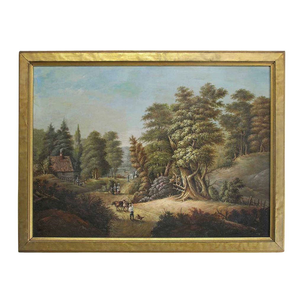 Antique Western Art Oil Painting Landscape Log Cabin Woods - 19th Century, USA