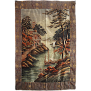 """Large 82"""" x 56"""" Japanese Meiji Embroidered Silk Wall Hanging Tapestry -  c. 1868-191"""