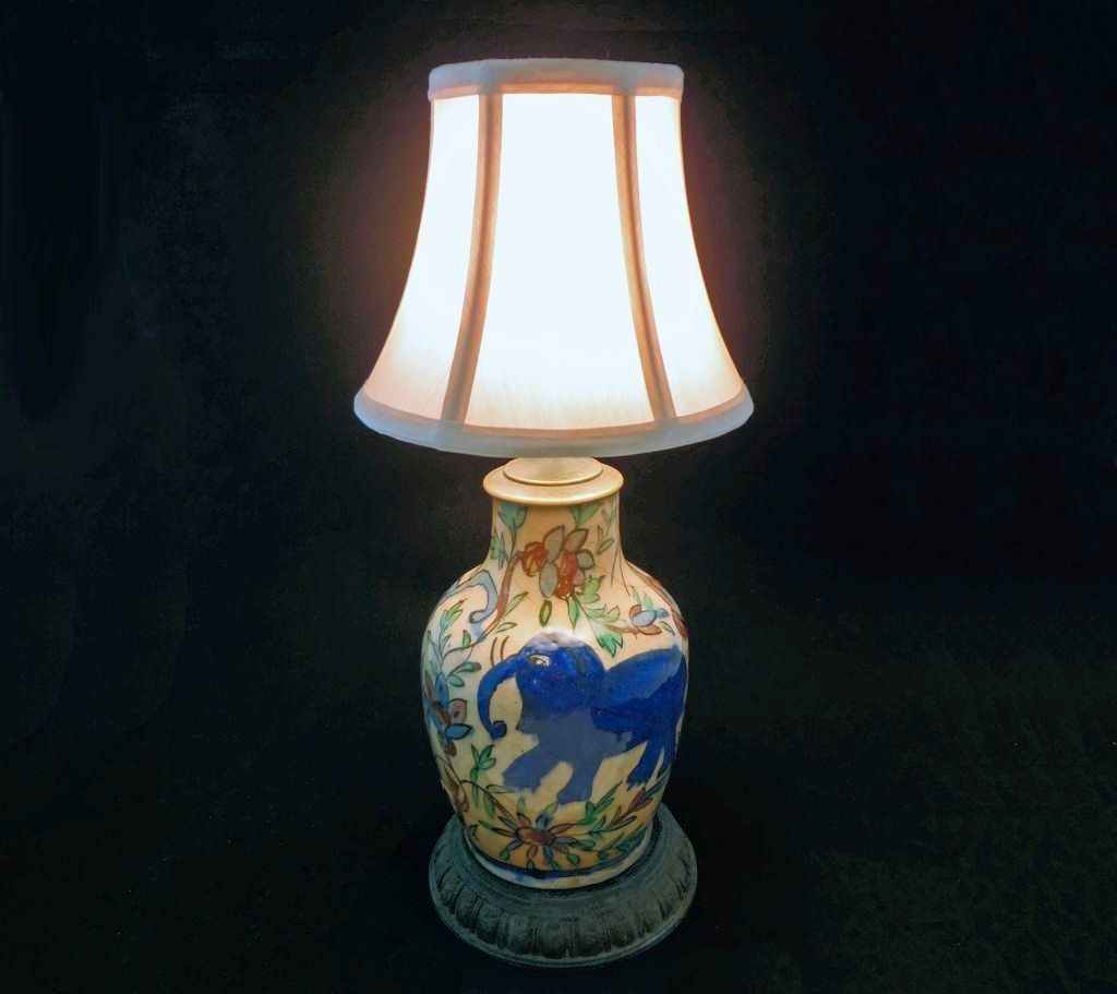 Persian Pottery Bottle Lamp Base w/ Elephants -  c. 19th/20th Century, Persia