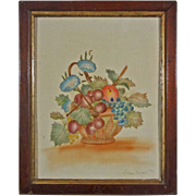American Folk Art Theorem Picture on Velvet Fruit Basket with Grapes and Cherries Signed Lilli