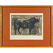 Original Etching of a Bull Signed and Numbered - 20th Century, USA