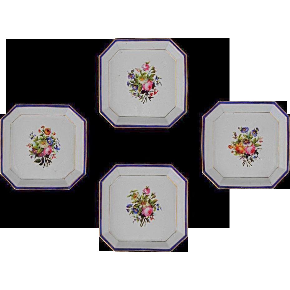 Set of 4 Early Antique Square Porcelain Bowls Floral, Cobalt and Gilt