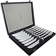 Set of 8  Kirk & Matz Sheffield Steak Knives Stainless Steel - 20th Century, England