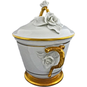Lidded Bowl White and Gilt Porcelain Applied Flowers - c. 19th Century, Portugal