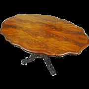 Burl Walnut Veneer English Victorian Breakfast Table on Casters Oval Shape Brass Casters - 19t