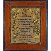 Large Antique Floral Vines Silk on Linen Needlework Child's Prayer Framed