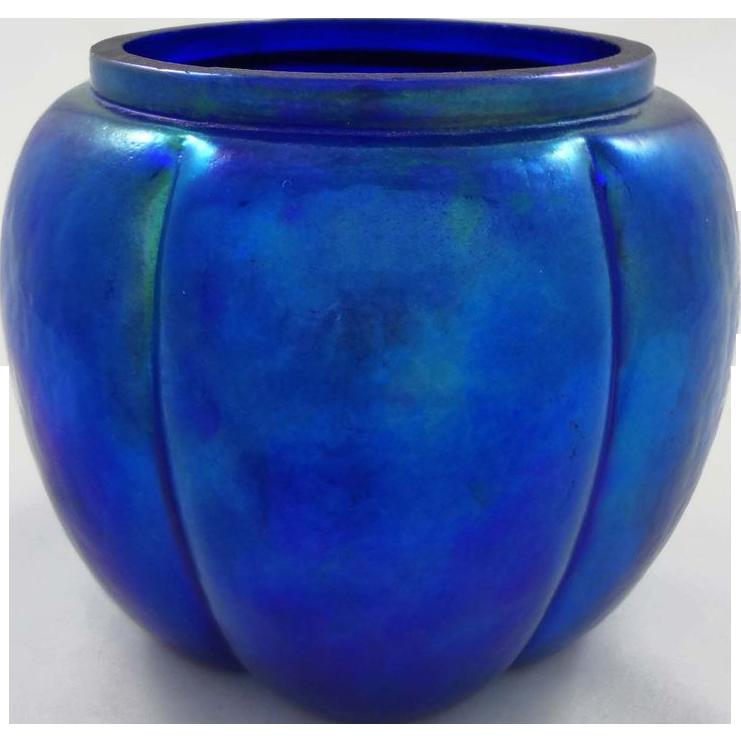 Blue Iridescent Art Glass Melon-Shaped Jar