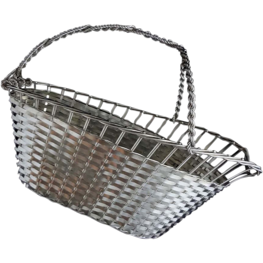 Excellent Christofle Style French Wine Basket Vannerie Silver Plated - c. 20th Century, France