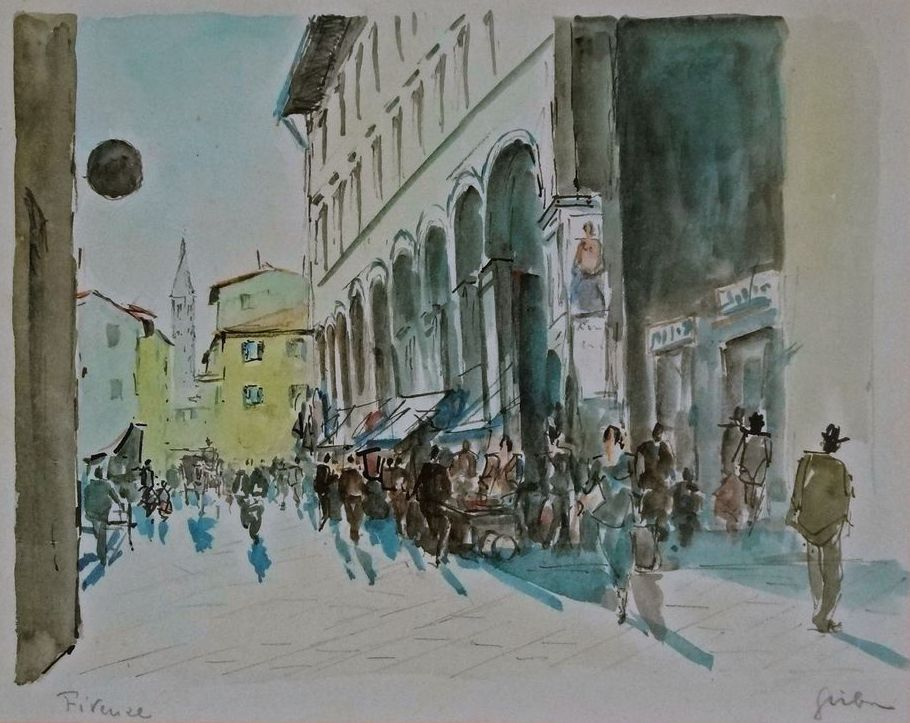 Modern Florence Watercolor Painting Cityscape Finely Framed - 1980's, Italy