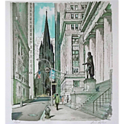 Original Limited Edition Wall Street Silkscreen / Serigraph Print Pencil Signed Ardis Hughes N