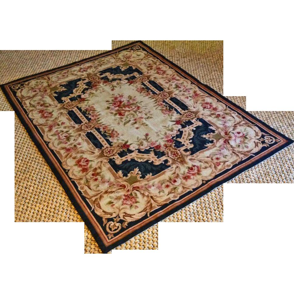 "5'11"" x 4'1"" Aubusson Style Flat Weave Rug / Carpet Medium Size - c. 20th Century"