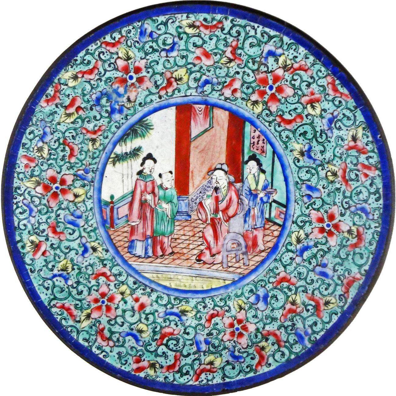 Antique Chinese Enamel Painting on Copper Rose Mandarin Dish
