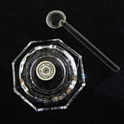 Set 8 Val St Lambert Crystal Salts and Spoons - 20th Century, Belgium