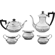 English Sheffield Silver Plated Tea and Coffee Set 5 Pieces plus Tray