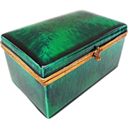 Paul Milet Sevres Sea Green Glaze Rectangular Porcelain Dresser Box / Casket Hinged Lid - c. 1930's, France.