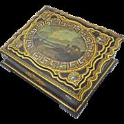 Antique Papier Mache Ladies Writing Slope / Escritoire Seascape - 19th Century, England