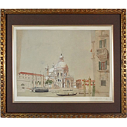 SOLD Antique Watercolor Painting of Venice Signed Monogram and Dated - 1850, Italy