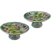 Pair French Majolica St. Clement Compote Pedestal Plates Raspberries - France