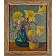 SOLD Still Life Painting Yellow Daffodils Signed Artist Oil Canvas Framed - 1945, USA